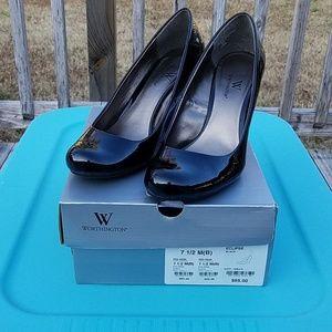 Women's Black Wedge Dress Shoe Worthington Sz 7.5